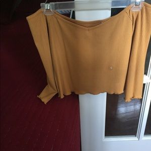 Cropped mustard off the shoulder tee